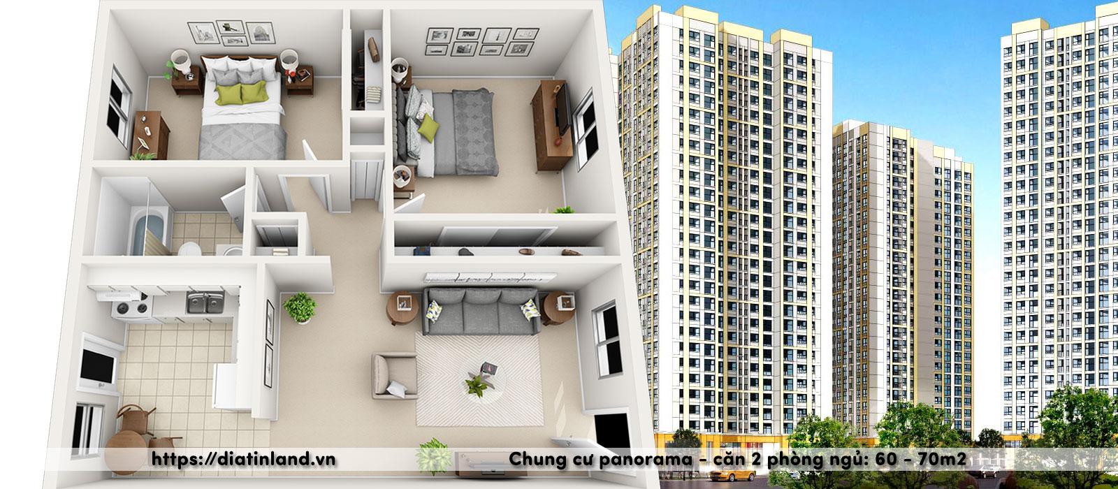 Chung cư Panorama Hoàng Mai Căn 2 phòng ngủ