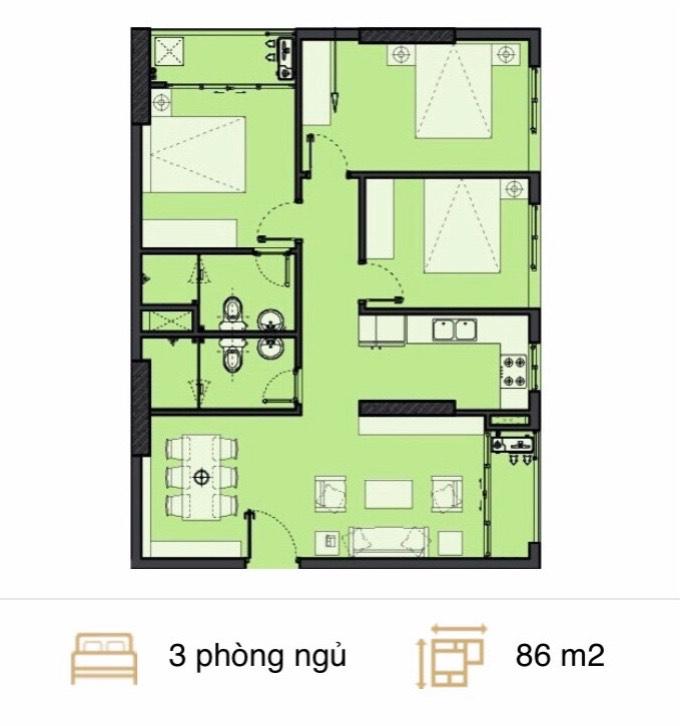 Căn hộ 3 phòng ngủ chung cư c22 bộ công an