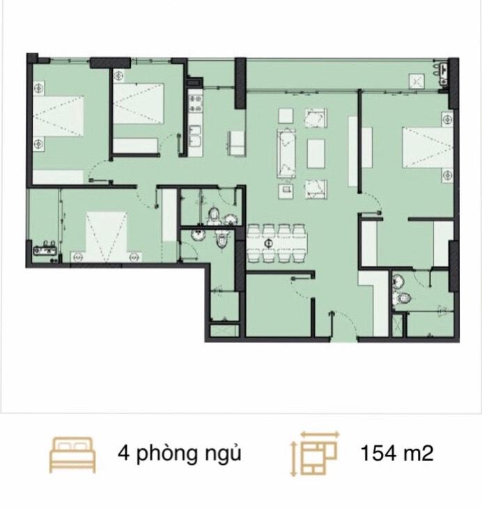 Căn hộ 4 phòng ngủ The Park Home